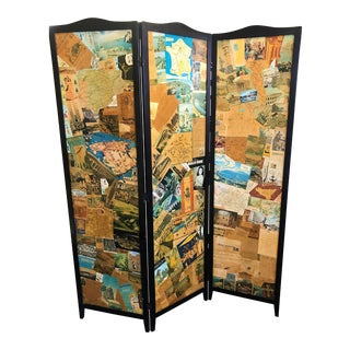 Vintage 1960s Travel Collage Decoupage 3-Panel Floor Screen For Sale