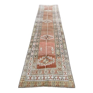 "1950s Traditional Anatolian Copper Handwoven Wool Oushak Rug - 13'5"" X 3'1"" For Sale"