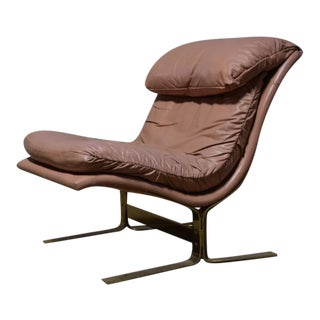 Leather Scoop Chair Mid-Century Lane For Sale