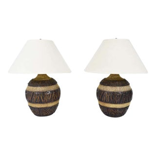 Mid-Century Brutalist Style Bulbous Ceramic Table Lamps in Bronze - a Pair For Sale