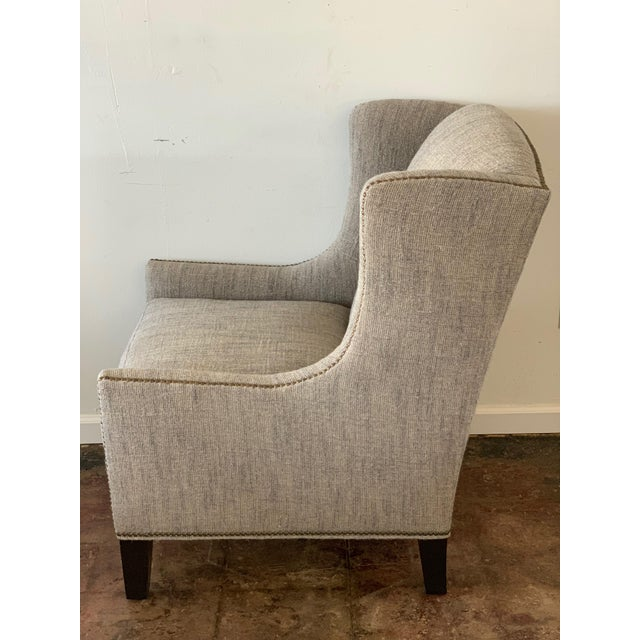 1960s 1960s Vintage Mark Alexander Linen Fabric Wingback Chair For Sale - Image 5 of 9