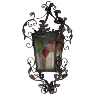 Early 20th Century Antique French Iron and Stained Glass Panel Lantern For Sale