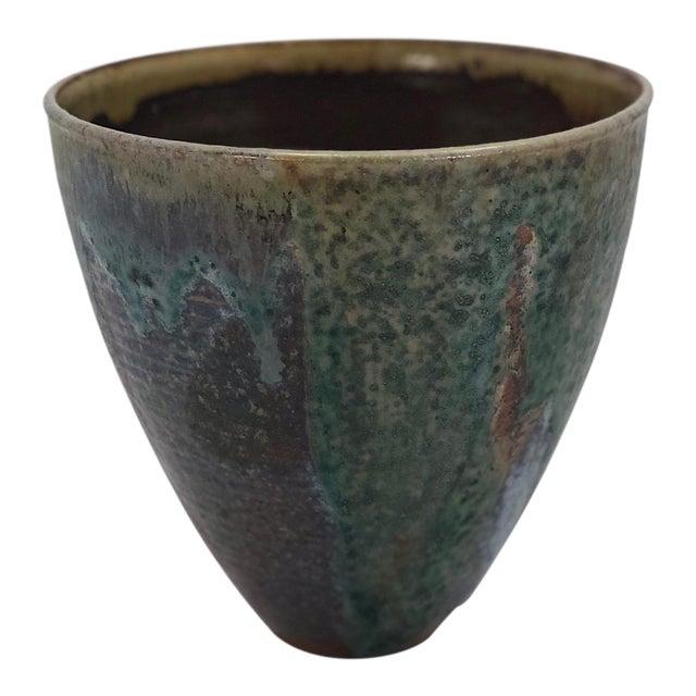 Late 20th Century Vintage Glazed Studio Pottery Vase For Sale