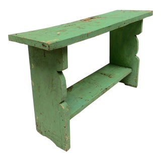 1800s French Country Farmhouse Painted Bucket Bench For Sale