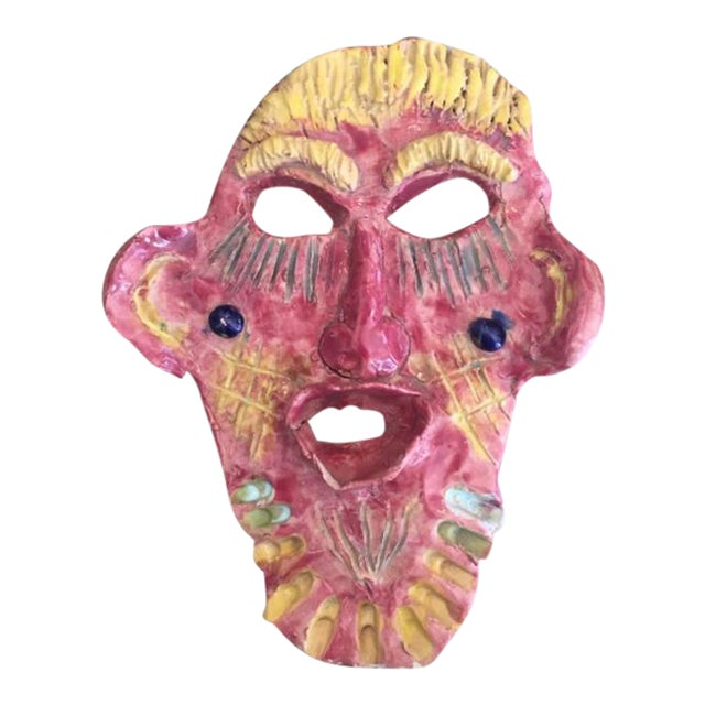 Mid 20th Century Pink & Yellow Glazed Face For Sale
