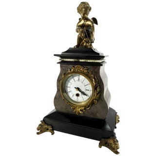 20th Century French Marble Clock With Bronze Cherub For Sale