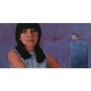 Contemporary Portrait of a Girl with Bird Oil Painting by Deborah DeSaix For Sale
