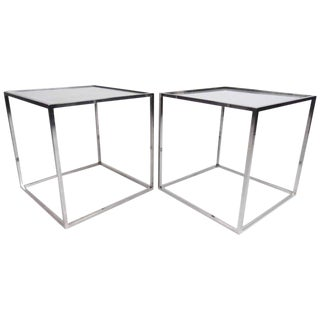 Pair Vintage Modern Chrome & Glass End Tables - Attributed to Milo Baughman For Sale