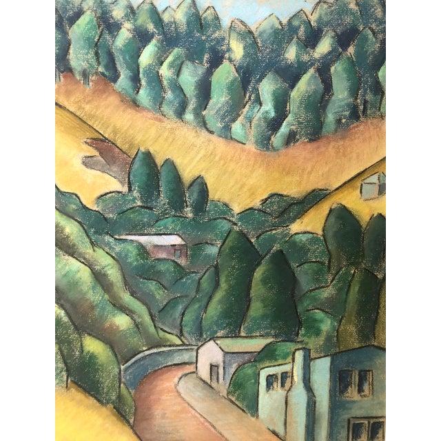 "1930s Signed Chalk California Landscape ""Larkspur"" For Sale In New York - Image 6 of 8"