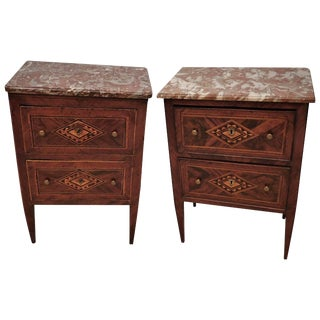 Assembled Italian Neoclassical Marble-Top Small Commodes, Circa 1810 - a Pair For Sale