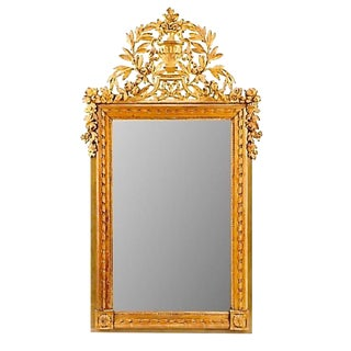 French Louis XVI Neoclassical Carved Gilt Wood Mirror For Sale