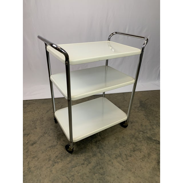 Metal Mid-Century Modern Three-Tier Enameled Metal Serving Cart by Cosco Hamilton For Sale - Image 7 of 11