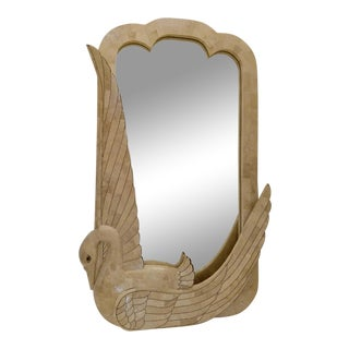 Maitland Smith, Tessellated Stone and Brass Swan Mirror For Sale