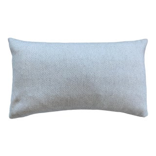 Contemporary FirmaMenta White Cream Herringbone Wool Lumbar Pillow For Sale