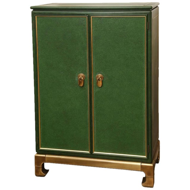 Signed Mastercraft Hollywood Glam Lacquered Brass and Emerald Leather Cabinet - Image 1 of 5