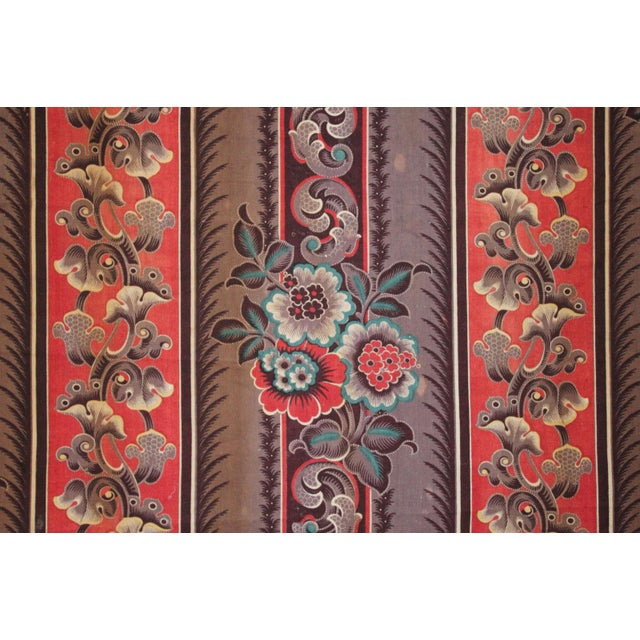 French Antique French Fabric Rare Purple Red & Blue Madder Tones 1830 Roller Printed For Sale - Image 3 of 13