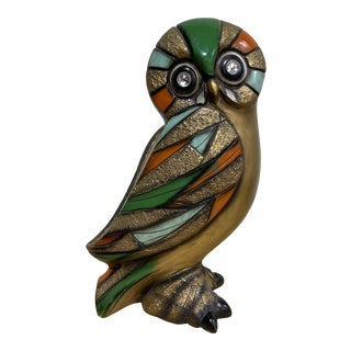 Universal Statuary Mid Century Colorful Owl Sculpture For Sale