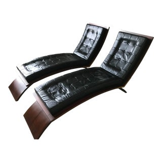 Mid Century Modern Custom Chaise Lounge Chairs- A Pair For Sale