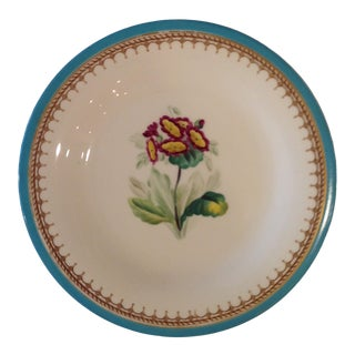 English Hand Painted Botanical Plates With Turquoise Edge. Set of 4. For Sale