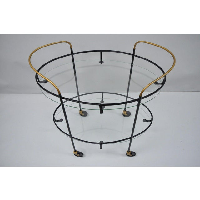 Mid-Century Modern Vintage Metal Iron & Glass Atomic Era Oval Rolling Bar Cart For Sale - Image 3 of 13