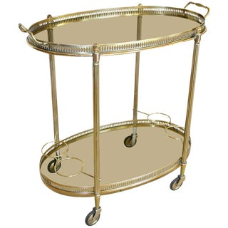 French Hollywood Regency Brass Bar / Tea Cart