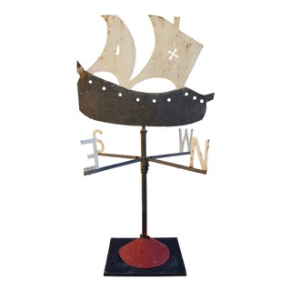 Early 1900s Hand Forged Iron Galleon Ship Weathervane W/ Stand