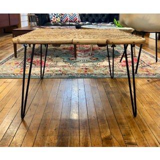 Mid Century Modern Wicker Coffee Table With Hairpin Legs Preview
