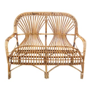 1960s Boho Chic Rattan Bench For Sale
