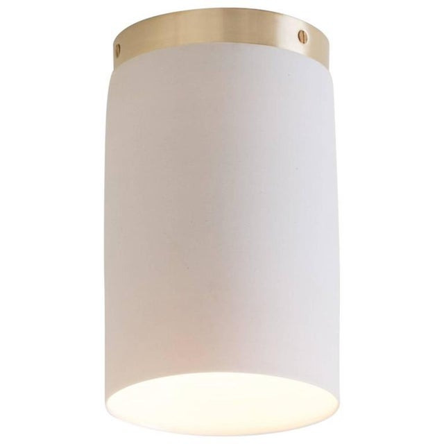 Gold Contemporary Surface White Porcelain & Brushed Brass Flush Mount Ceiling Light For Sale - Image 8 of 9