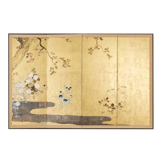 Japanese Four-Panel Rimpa Screen Floral Autumn Landscape For Sale