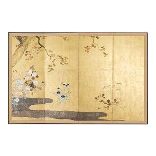 Japanese Four-Panel Rimpa Screen Floral Autumn Landscape For Sale