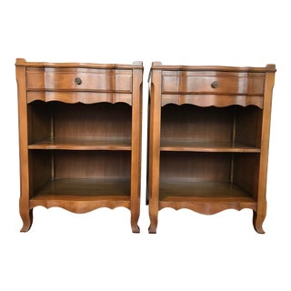 Vintage John Widdicomb of Grand Rapids Michigan Solid Cherry Wood Nightstands End Tables Country French Provincial With Gallery Rail - a Pair For Sale