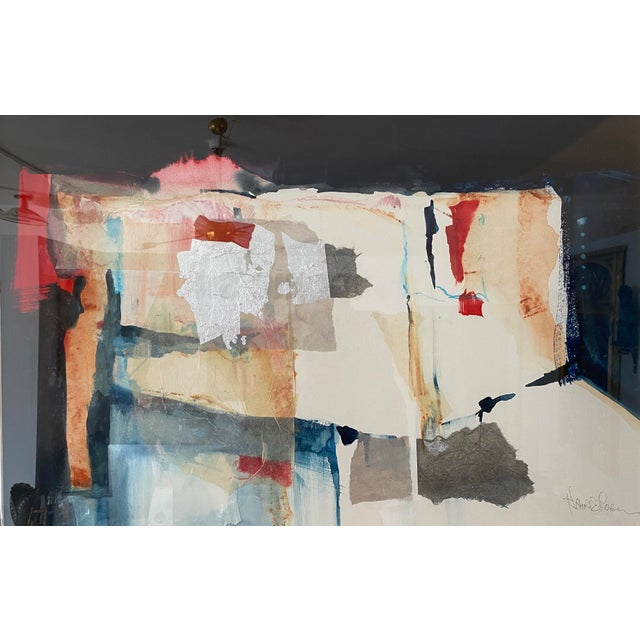 American Vintage Harold Larson Painting Abstract Mixed Media Collage For Sale - Image 3 of 13