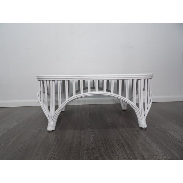 Boho Chic Oval Rattan Cocktail / Coffee Table With Bent Bamboo For Sale - Image 4 of 7