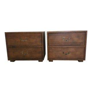 1950s Campaign Henredon Nightstands - a Pair For Sale