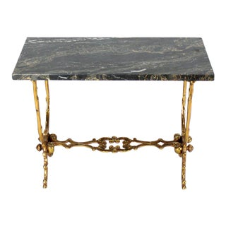 Solid Cast Bronze Black Marble-Top Side Table For Sale
