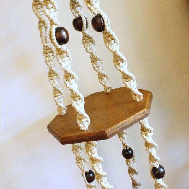 Vintage Wood Macrame Hanging Shelves - Image 6 of 7