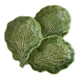 Image of Green Cabbage Leaf 3 Part Serving Platter Made in Portugal For Sale