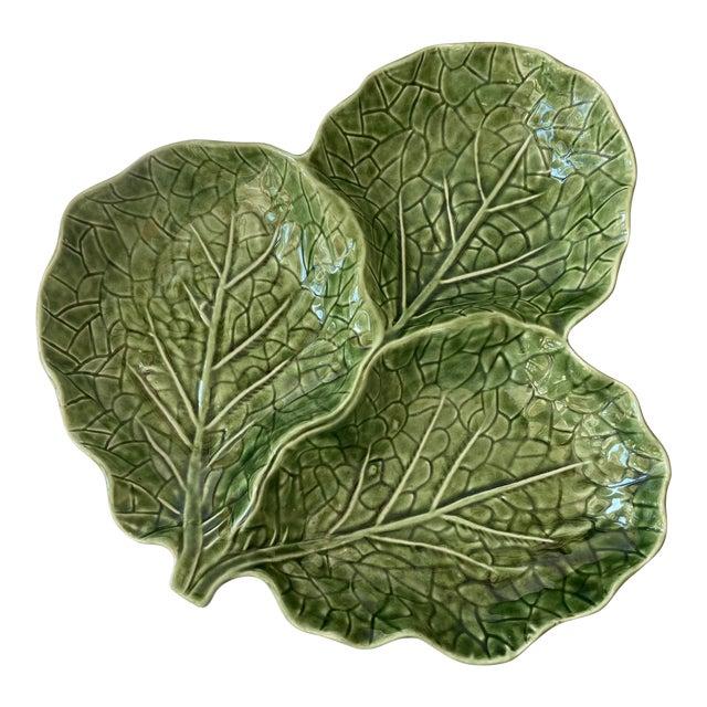 Green Cabbage Leaf 3 Part Serving Platter Made in Portugal For Sale