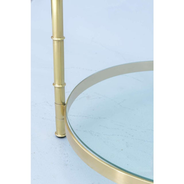 Polished Brass Faux Bamboo End Table For Sale - Image 4 of 11