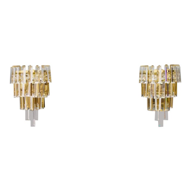 Pair of Crystal Glass Wall Sconces by Palwa, Germany, 1960s For Sale