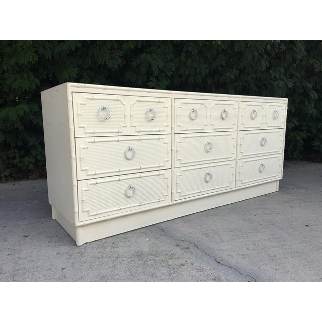 Faux Bamboo and Rattan 9-Drawer Dresser by Omega For Sale - Image 10 of 10