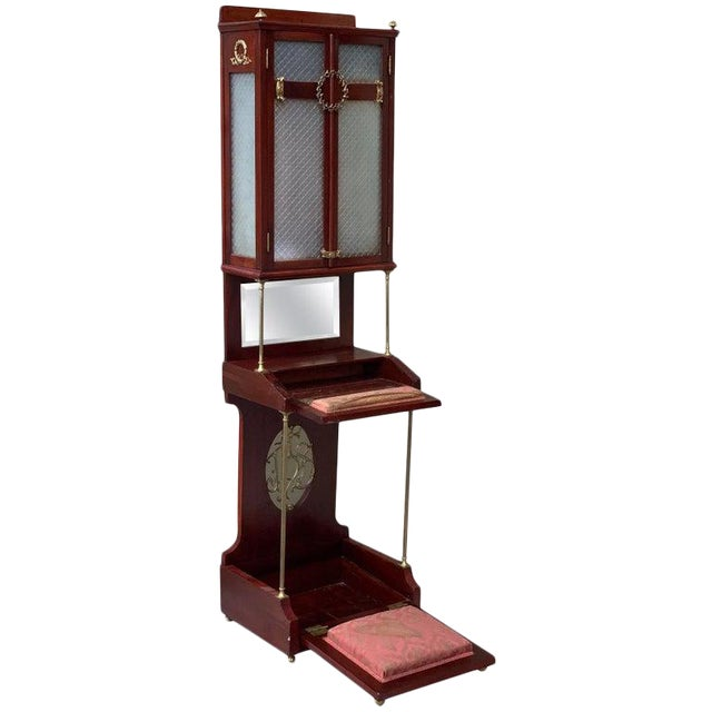19th Century French VIctorian Prie-Dieu, Oratory in Mahogany With Vitrine For Sale