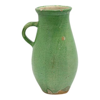 French Green Glazed Terra Cotta Pitcher For Sale