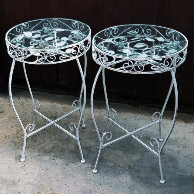Palm Springs Regency White Iron Rose Bud Decorated Side Tables - a Pair For Sale - Image 11 of 12