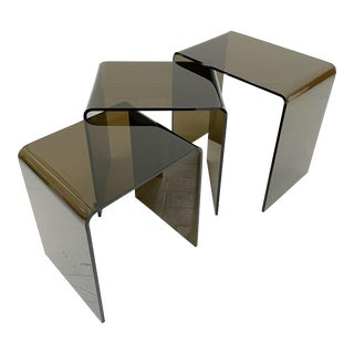 Smoke Lucite Acrylic Waterfall Nesting Tables - Set of 3 For Sale