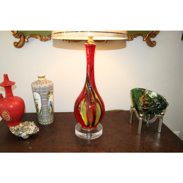Red Murano Style Accent Lamp For Sale - Image 4 of 6