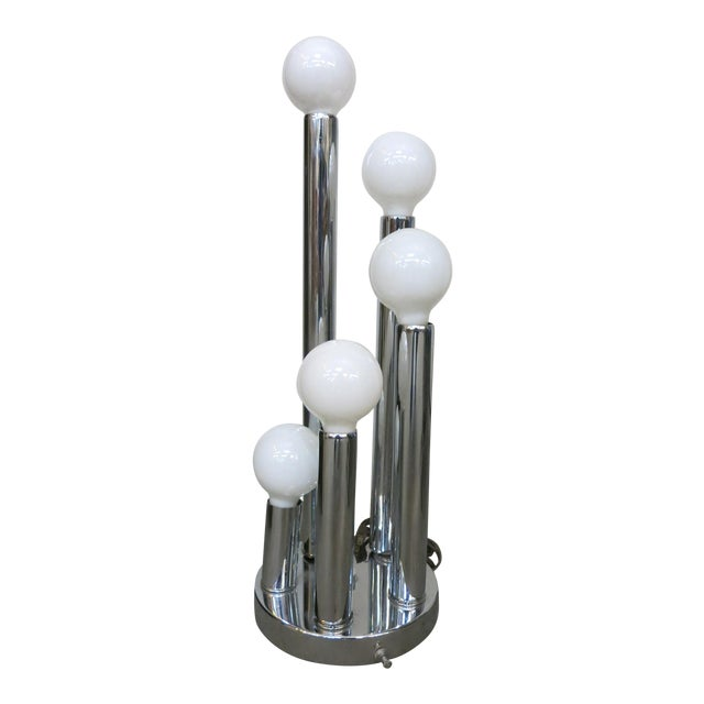 Sonneman Style Chrome Ball Table Lamp, by Torino Italy For Sale