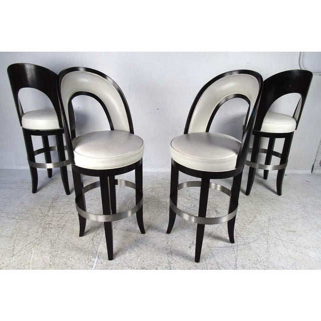 Set of Four Mid-Century Modern Italian Swivel Bar Stools For Sale - Image 11 of 11