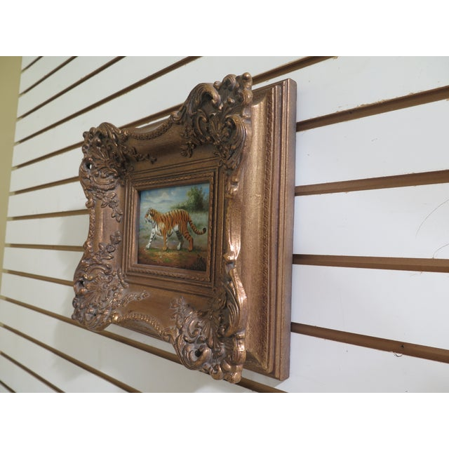 A.COSTA Framed Tiger Oil Painting On Board. About 20 years old. Includes gold frame. Condition: Excellent Original Finish...